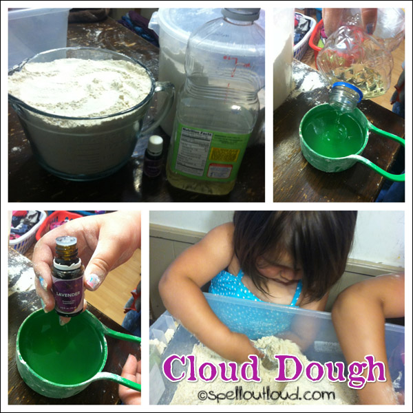 cloud dough with essential oils