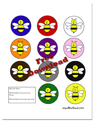 Learning Colors: Bee Colors Cards