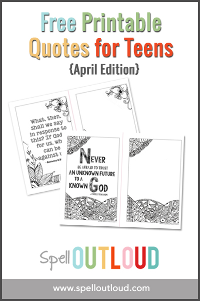 April Printable Quote for Teens