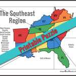 Printable Southeast U.S. Regions Puzzle