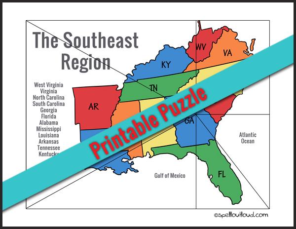 Printable Southeast U.S. Regions Puzzle
