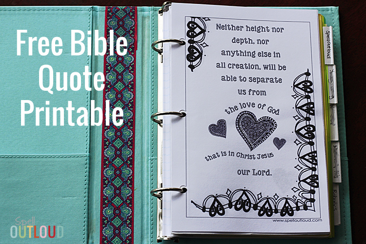 Free Bible quote printable for half-binders