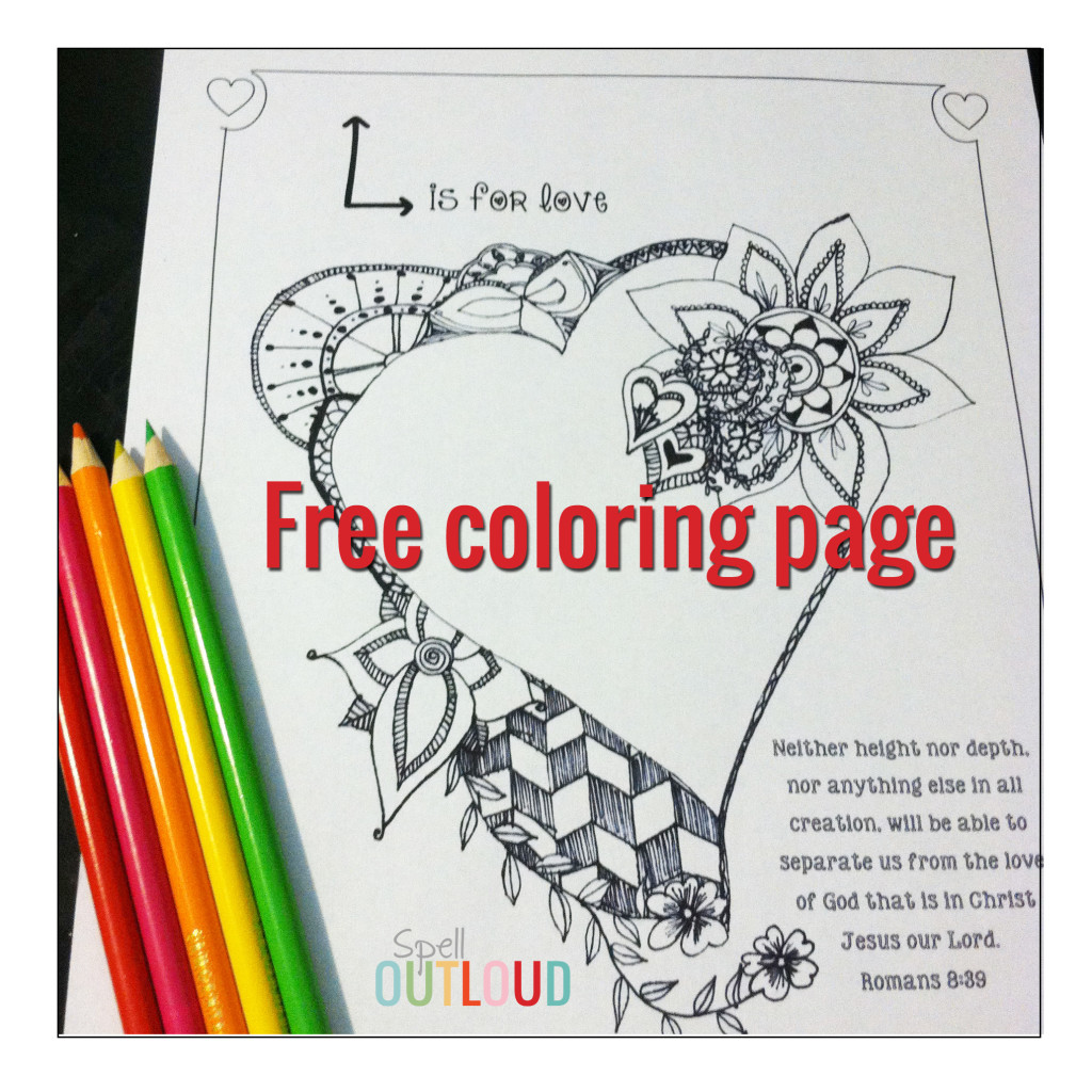 Free heart scripture coloring page