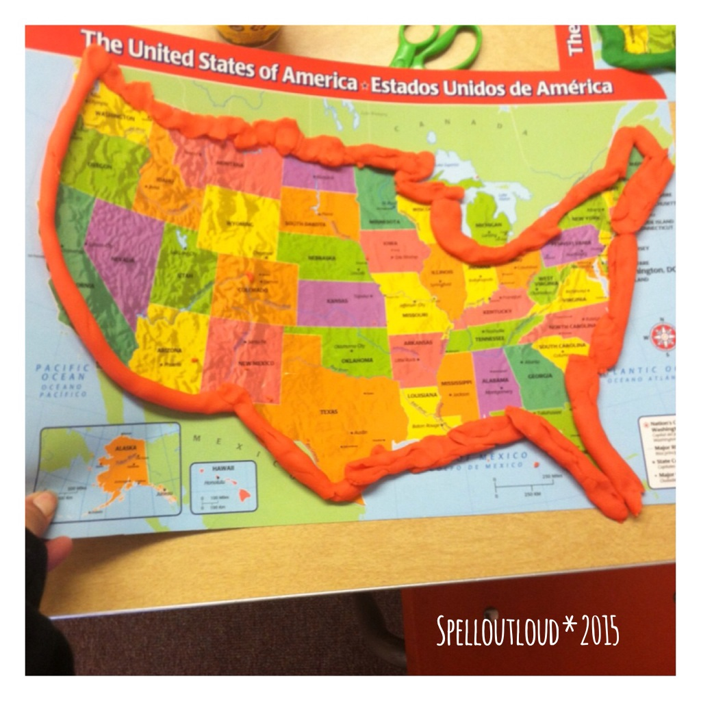 map outlining with Play-Doh